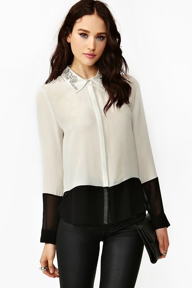 Crystallized Silk Blouse $108.00 #NastyGal