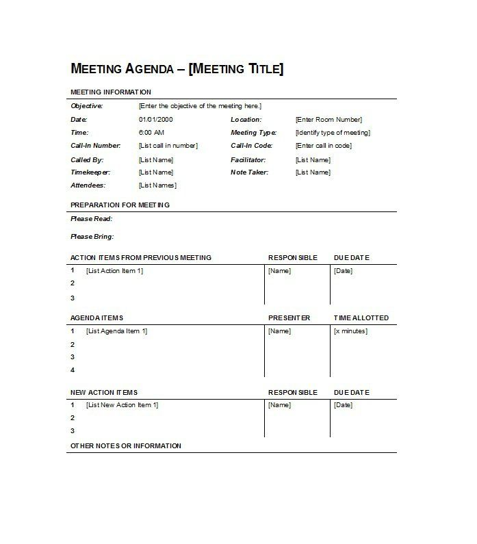 Sample Of Agenda Of Meeting Format 46 Effective Meeting Agenda Templates    Template Lab  Format For An Agenda