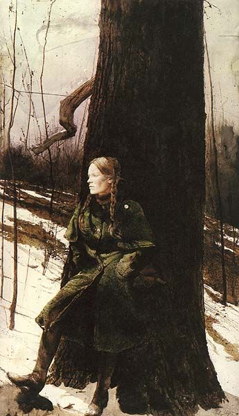 Oh for that caped, belted, loden coat--Andrew Wyeth, Cape Coat (Helga Pictures), 1982.: