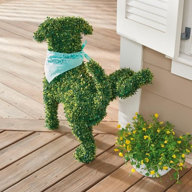 You don't need a country estate or master gardener to enjoy the everlasting charm of our Faux Boxwood Garden Dogs. They don't require grooming or water, and never bark! A simple and playful way to fetch smile after smile in the garden, at an entryway, or nearly anywhere in your landscape. Lifelike all-weather materials mimic lush, healthy, natural boxwood, down to the smallest details, and maintain their beauty season after season. They're easy to live with, ...