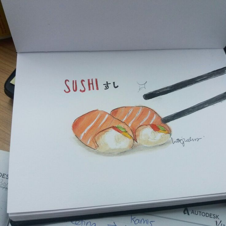 SUSHI - WATERCOLOR ON CANSON SKETCHBOOK BY LUTHFIAHRA
