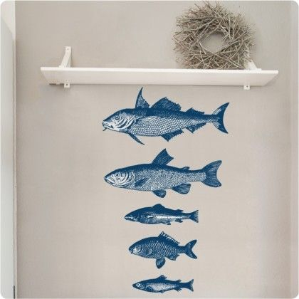 Ethans Room   Etched Fish Set Of Removable Wall Stickers Part 89