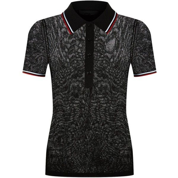 Alexander Wang Metallic Polo T-Shirt ($495) ❤ liked on Polyvore featuring tops, t-shirts, slim fit t shirts, preppy tees, sleeve t shirt, slim tee and metallic t shirt