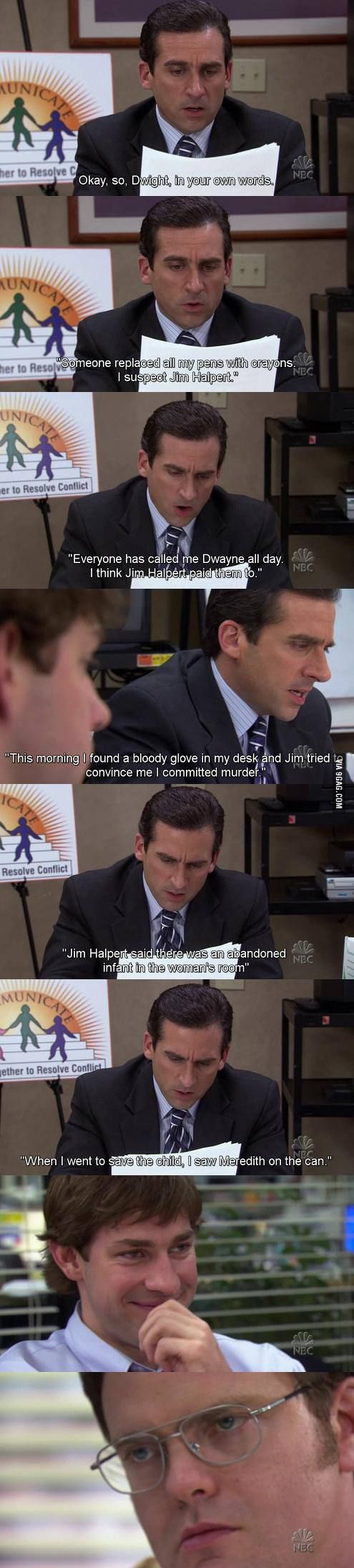 Best scene from the office. Jim and Dwight. Lmfao!! Jim Halpert is my hero lol