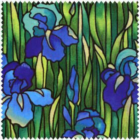Blue Iris and Green Grass Stained Glass Fabric 1 yard. $10.00, via Etsy.