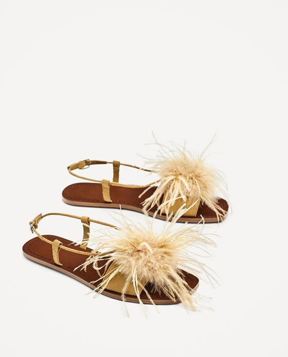 Image 1 of FLAT SANDALS WITH FEATHERS DETAIL from Zara
