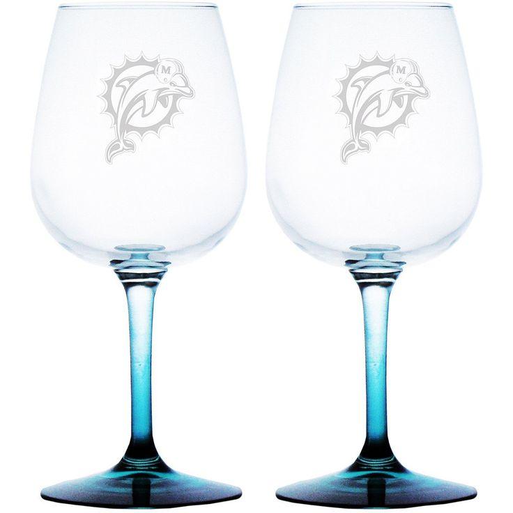 Boelter Miami Dolphins 12oz. Wine Glasses- Set of 2