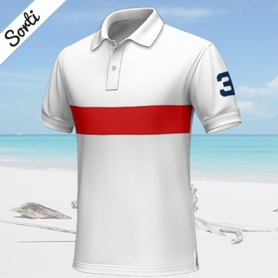 Sorti      Sportive white polo shirt, short-sleeved, 100% cotton...    This white custom polo shirt has a sportive and young look. It has a red stripe on the chest and the number 3 on the left sleeve. It combines well with jeans or white chino pants. http://www.tailor4less.com/en/collections/custom-polo-shirts/endless-summer/sorti