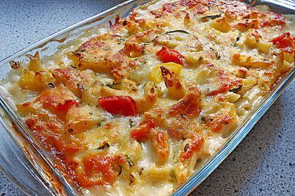 Pasta casserole with zucchini and paprika   – Vegane Rezepte