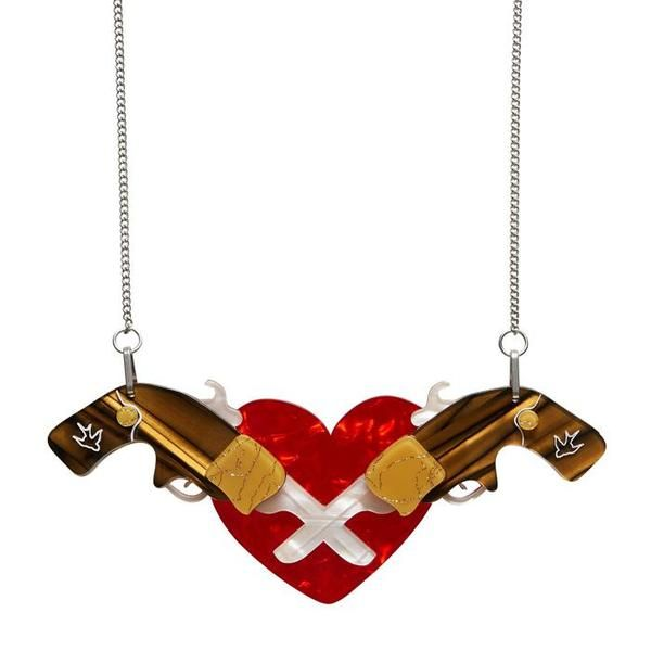"""Erstwilder Collectible Holstered Love Necklace. """"It'd be easy to become a little rattled upon encountering this slithery fellow. Of course we would be completely hiss-terical"""""""