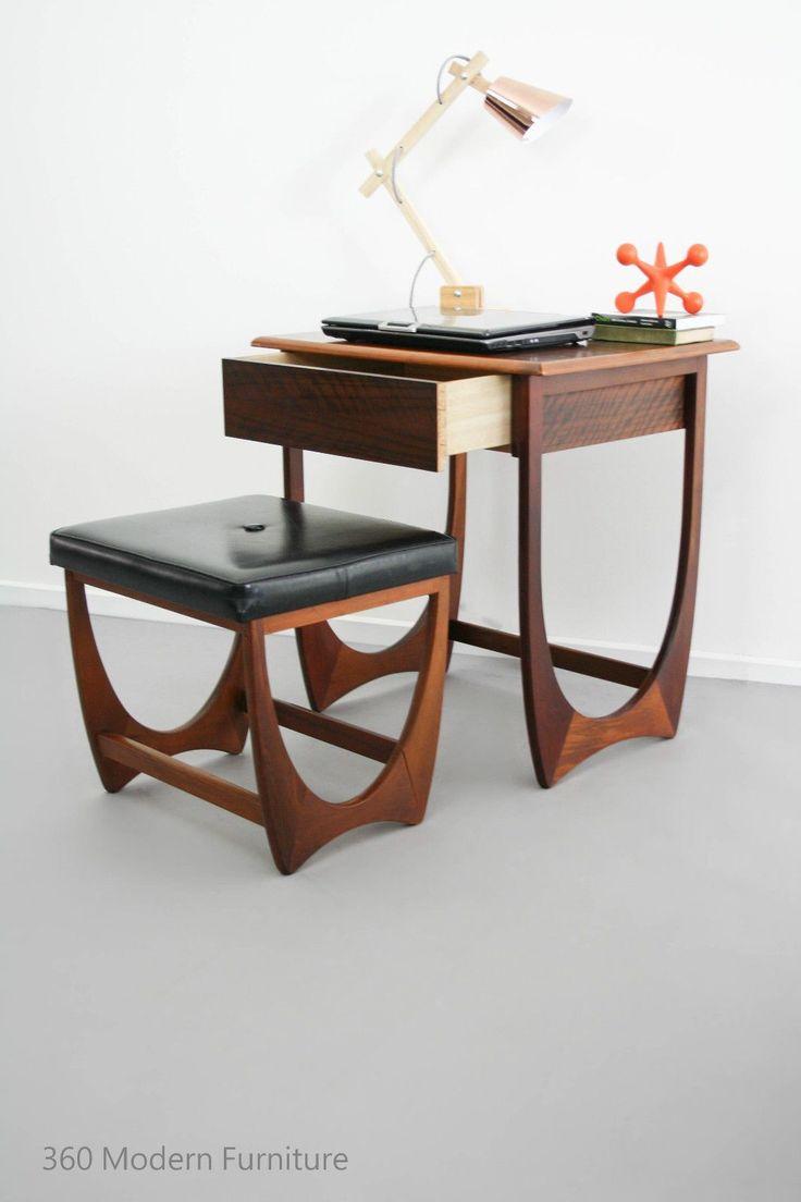 Mid Century Modern Kalmar Desk Hall Table Drawer Console & Stool Vintage Retro Scandi in Home & Garden, Furniture, Desks & Home Office Furniture   eBay 360 Modern Furniture