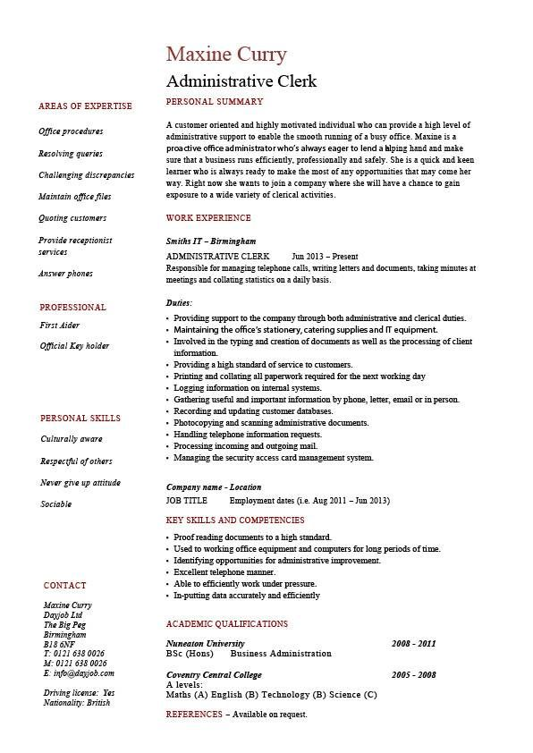 Administrative clerk resume, clerical, sample, template, job description, clerical duties, expertise