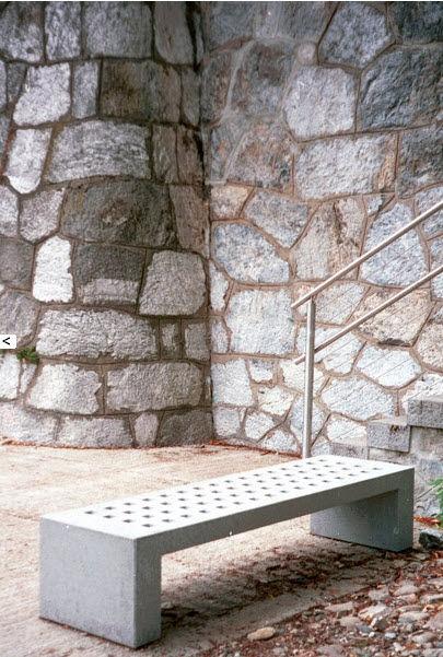 contemporary public bench in concrete.