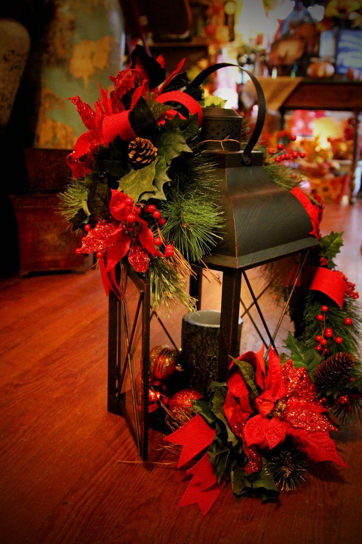 lantern poinsettia Christmas Lantern. statehoodhouseflowers.com