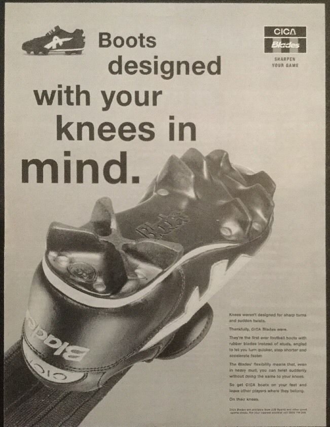 1995 A4 Football magazine picture poster CICA BLADES FOOTBALL BOOTS ADVERT   eBay