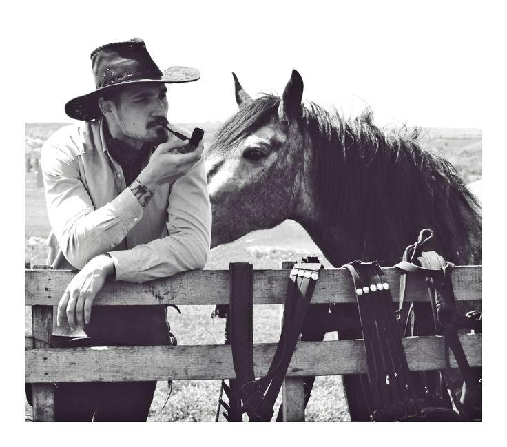 smoking cowboy and his horse