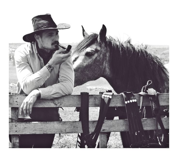 smoking cowboy and his horse