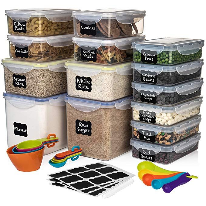 Amazon Com Set Of 28 Pc Food Storage Containers 14 Containers Shazo Airtig Airtight Food Storage Food Storage Containers Plastic Pantry Storage Containers