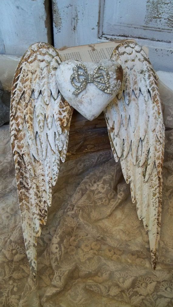 White rusty metal wings with rhinestone embellished heart shabby chic cottage sculpture anita spero