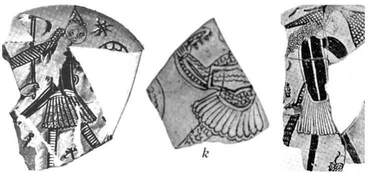 Origins of the Fustanella - Sgraffito pottery fragments from the 12th century showing Greek warriors wearing the fustanella, from Corinth, Greece