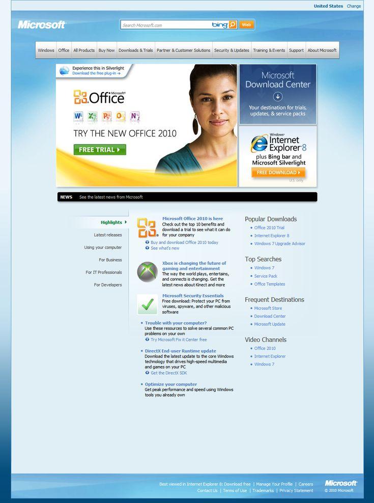 Microsoft website in 2010