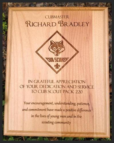 Laser Engraved Custom Plaque for Cubmaster, Leaders, and Volunteers!