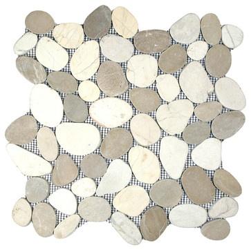 Sliced Tan & White Pebble Tile - contemporary - bathroom tile - Shower???