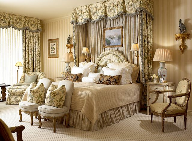Beautiful Elegant Master Bedroom: Large Soft Pleated Valance Creating A Bed Crown