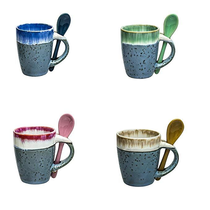 Mugs Creative Glazed Ceramic Coffee Mug With Spoon In Handle Gorgeous Artistic Unique Design Coffee Mugs 5 Oz Small Espresso C Glazed Ceramic Mugs Tea Cups