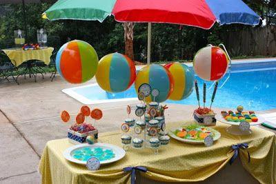 Fiesta de cumplea os en la piscina cumplea os de verano pinterest fiestas and mesas - Cumpleanos en piscina ...