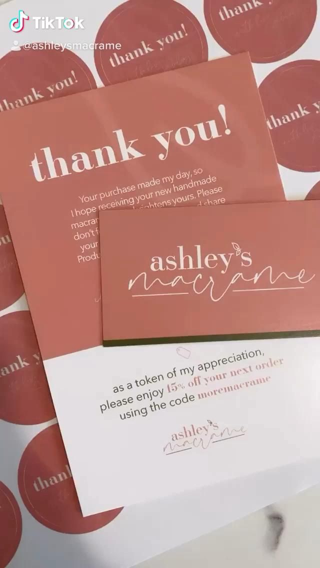 Ashley S Macrame Branding Video Business Thank You Cards Small Business Cards Packaging Ideas Business