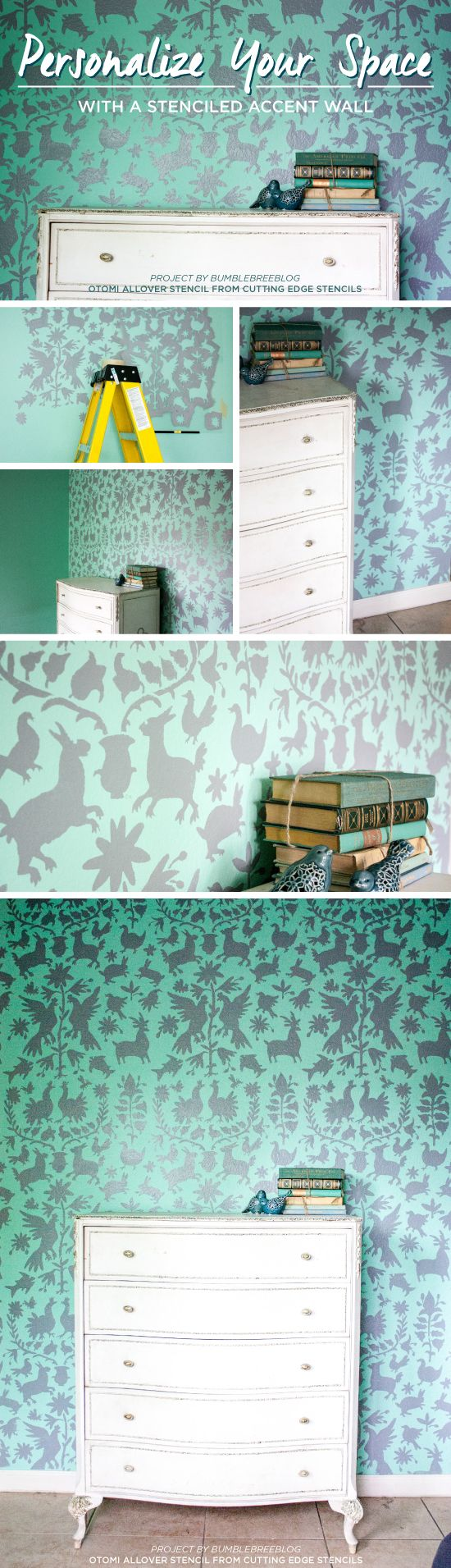 Cutting Edge Stencils shares a DIY stenciled accent wall in mint and gray using the Otomi Allover Stencil. http://www.cuttingedgestencils.com/otomi-tribal-wall-pattern-stencil.html