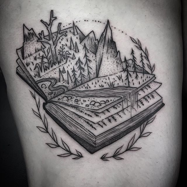 pop up book! thanks yasmine. done at @blackmedicinetattoo