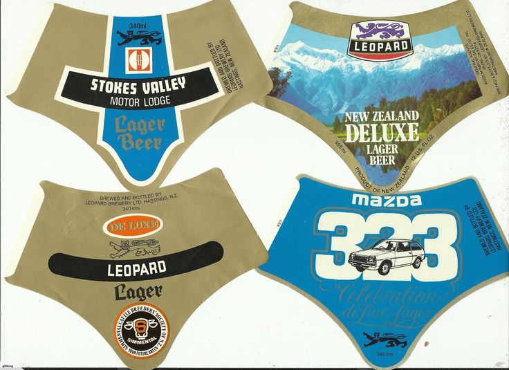 18 Different Leopard Brewery Beer Labels, as per scan, These are all the wrap around type label that were used extensively by Leopard Breweries of Hastings both...