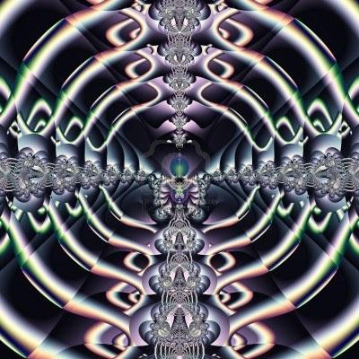 Heldere en funky originele fractal ontwerp, abstracte kunst, paars wereld Stockfoto