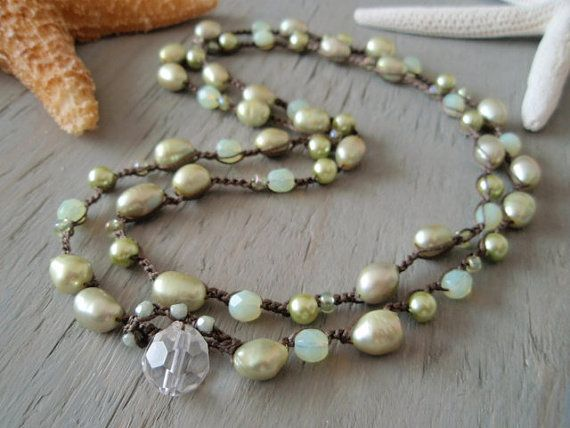 SubLime  Freshwater Pearl crocheted 2x double wrap by slashKnots