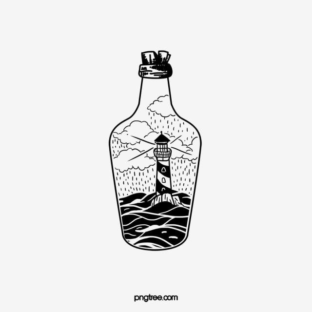Black And White Hand Drawn Potion Bottle Lighthouse Lineart Hand Drawn Style Potion Bottle Lighthouse Png Transparent Clipart Image And Psd File For Free Dow How To Draw Hands Bottle Drawing