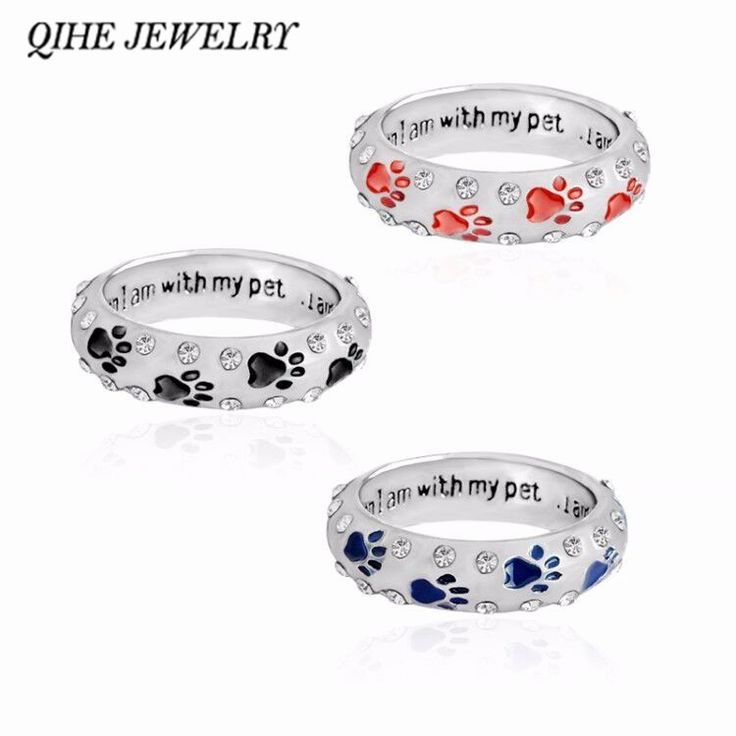 """QIHE JEWELRY Metal Rhinestone Hand Stamped Paw Print""""when I am with my pet,,,I am complete""""Dog Animal Pet Rings Foot Print Pet"""