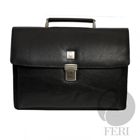 "FERI - Georgio - Murse - Black - Black leather with black leather trim - Customized FERI lining - Single handle - Push lock closure - Hand stitched - Adjustable shoulder strap with FERI embossed - Double gussets - Pen and business card holders - Inside cell and pda pockets - Business card slots - Dimensions: 16"" x 12"" x 4.5""  http://www.gwtcorp.com/ghem or  email  fashionforghem.com for big discount"