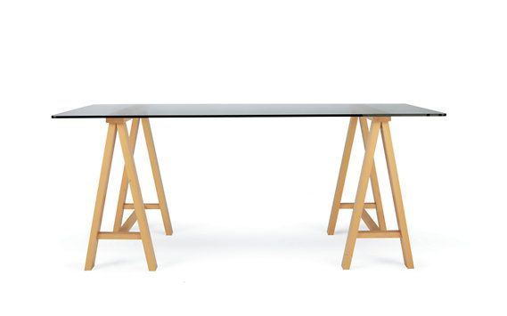 Classic trestle table with glass top