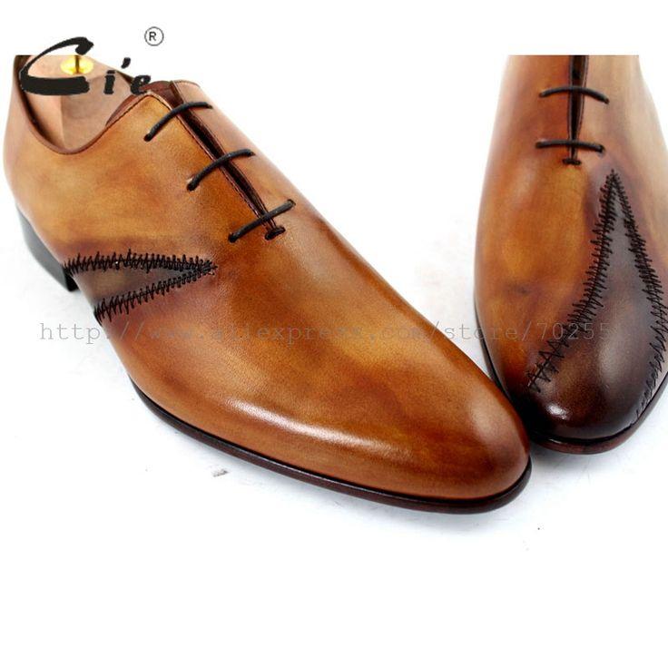Купить товарCie Бесплатная Доставка На Заказ Патч Шнуровка На Заказ Ручной Работы Натуральной Телячьей Кожи мужская Оксфорд Обуви Цвет Коричневый No. OX195 маккей Ремесло в категории Оксфордына AliExpress. мы делали обувь руч�