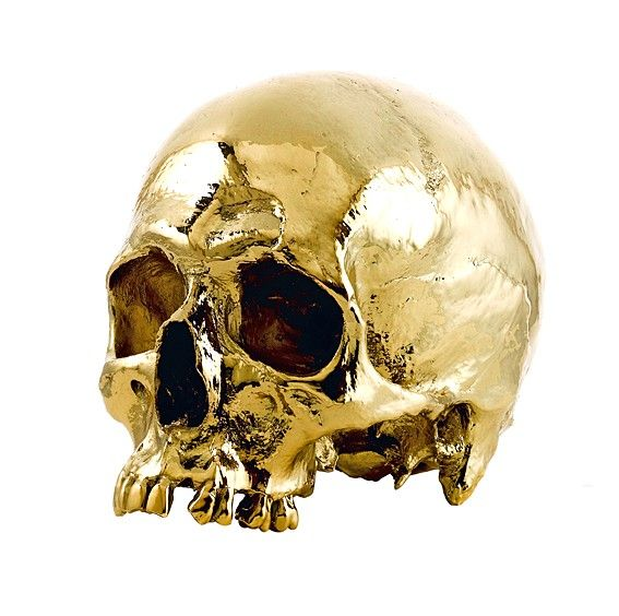 Life-Size 24 Karat Gold Human Skull