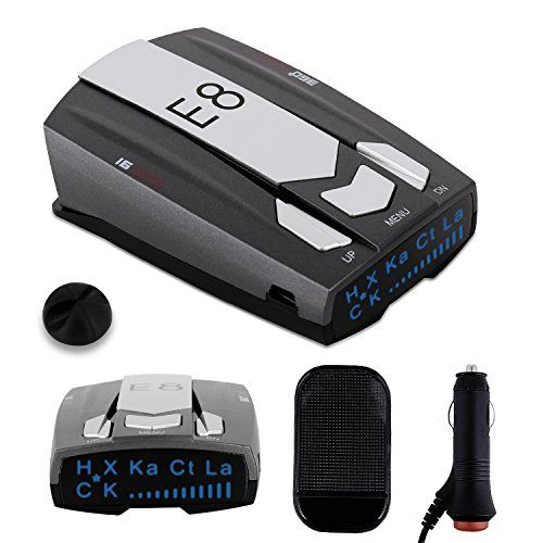 Radar Detector E8 Car Speed Laser Radar Detector with LED display, Voice Alert and Alarm System Radar Detector Kit with 360 Degree Detection FCC Certificate - Description Radar Detector with Voice Alert and Car Speed Alarm System and 360 Degree Laser Radar Detector Kit This is a fully featured high end dash model Laser Radar Detector and provides ultra performance!!! SPECIFICATION: Material: Plastic Size: 5.7 x 3.3 x 3.3 inches Weight: 0.175kg Power: 1...