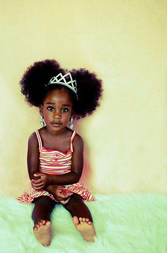 adorable african girl princess black natural hair