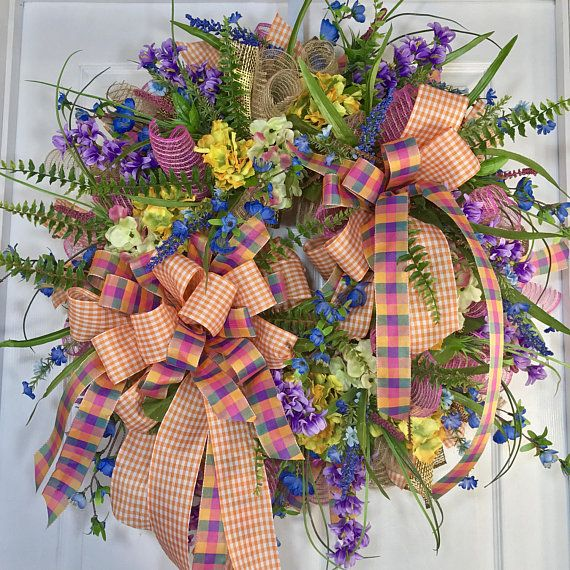 Purple and Pink Wildflower Spring or Summer Mesh by WilliamsFloral