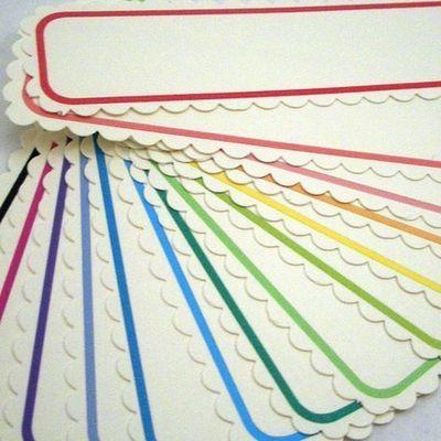 colorful labelsColors Colors, Scallops Shape, Colours Labels, Teaching Ideas, Scallops Edging, Colors Labels, Scallops Labels, Paper Treats, General Ideas