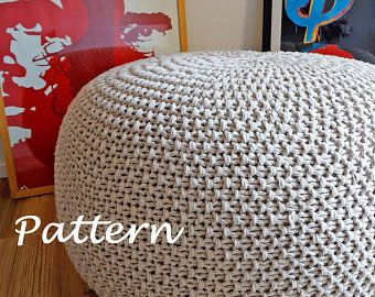KNITTING PATTERN Knitted Pouf Pattern Poof Knitting Ottoman Footstool Home Decor Pillow Bean Bag Pouffe