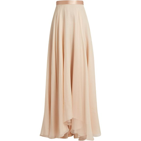 Lanvin Satin-waistband silk-crepon skirt ($2,896) ❤ liked on Polyvore featuring skirts, faldas, light pink and lanvin