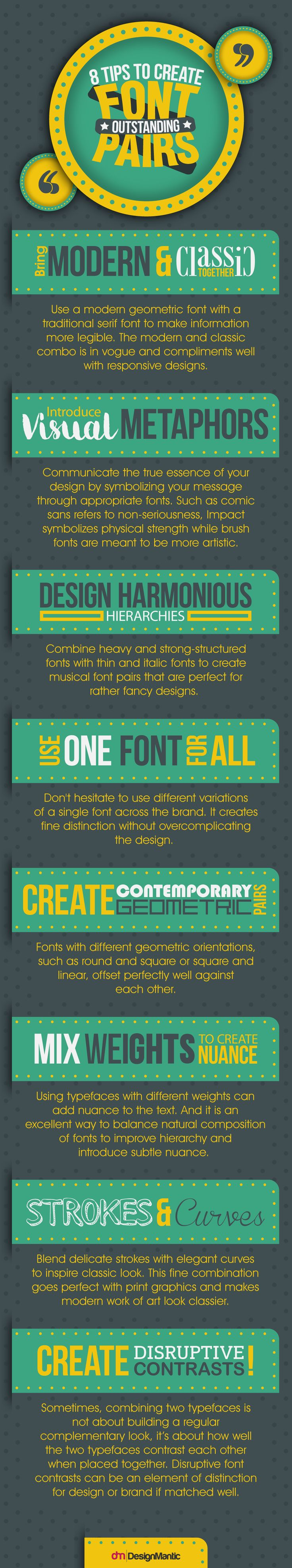 8 Tips to Create Outstanding Font Pairs #Infographic #Design #Fonts