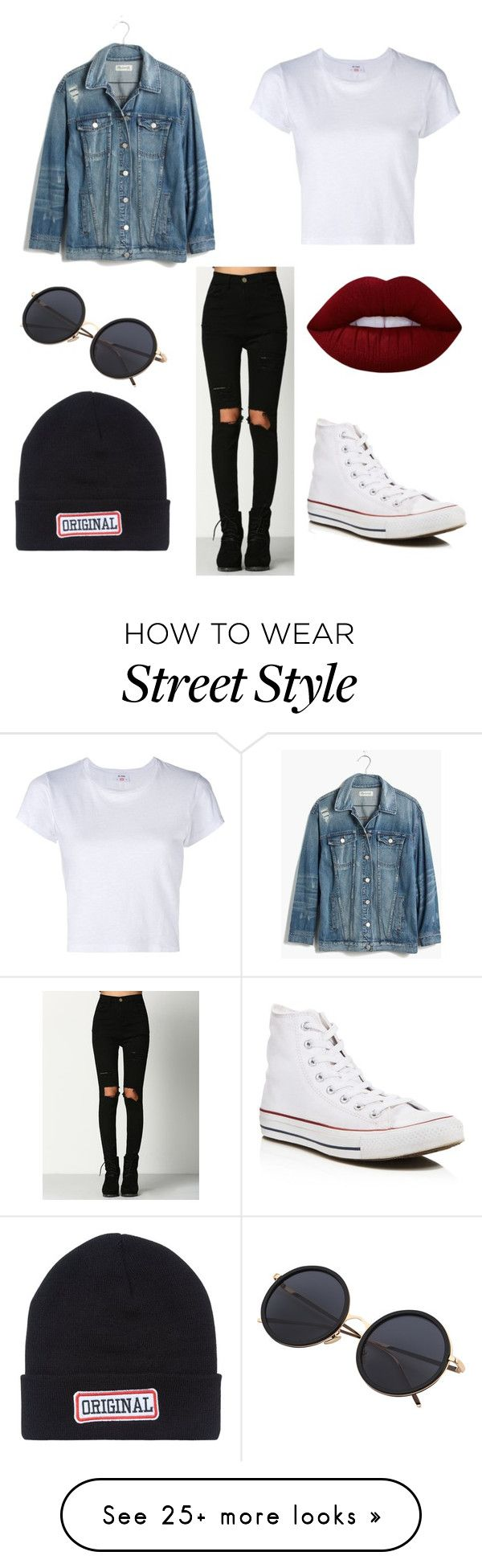 """// street style //"" by ainokekkonen on Polyvore featuring Madewell, RE/DONE, New Look, Lime Crime and Converse"